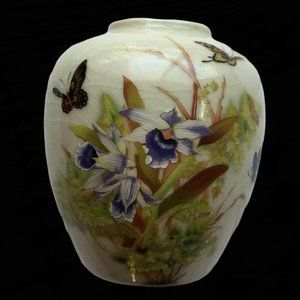 TOYO Tropical Orchid Vase Japan Asian Vintage Purp